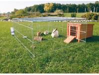 Et fint udendørs kaninbur med løbegård (foto: lavprisdyrehandel.dk)